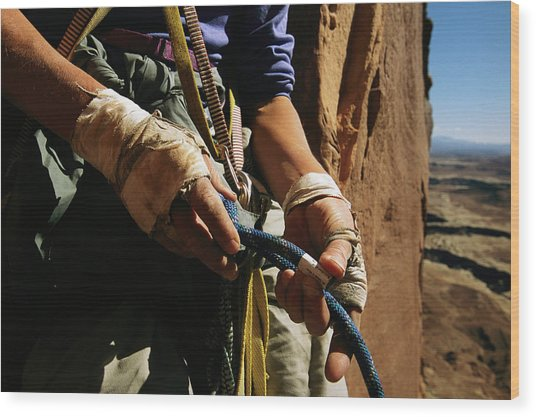 Rock Climber Becky Halls Wrapped Hands Wood Print by Bill Hatcher