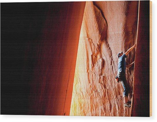 Rock Climbing In Utah At Indian Creek Wood Print