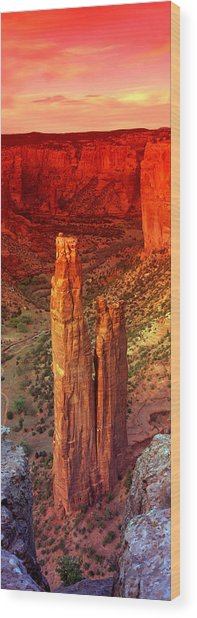 Rock Formations In A Desert, Spider Wood Print