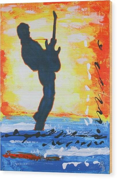 Rock Guitar Abstract Painting Wood Print