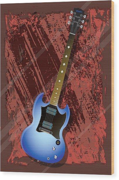 Rock Guitar Wood Print by Lee Wolf Winter