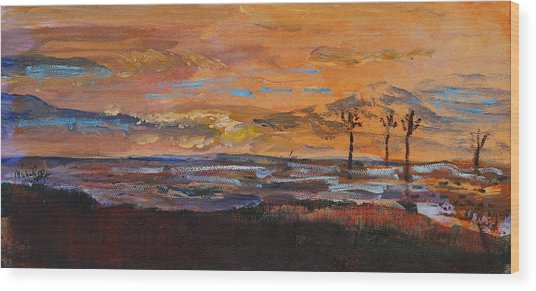 Rock Harbor Sunset Wood Print
