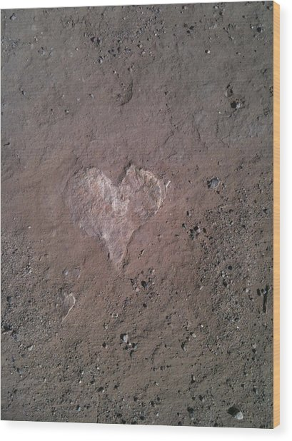 Rock Heart Wood Print