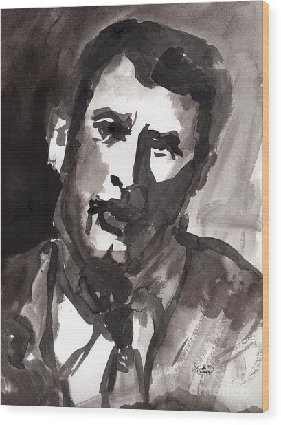 Rock Hudson Watercolor Sketch Wood Print by Ginette Callaway