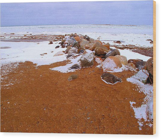 Rock Pile In Winter Wcae2pd  Wood Print by Lyle Crump
