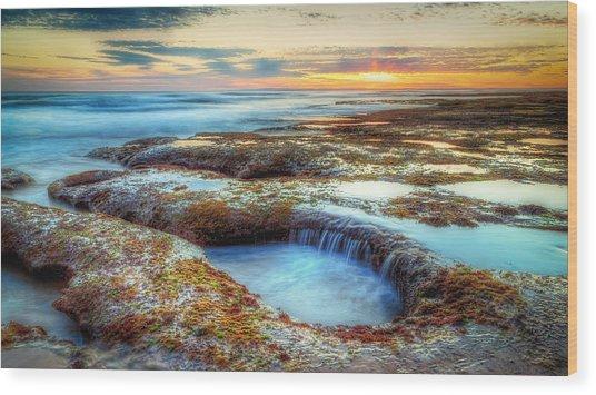 Rock Pools Wood Print by Paradigm Blue
