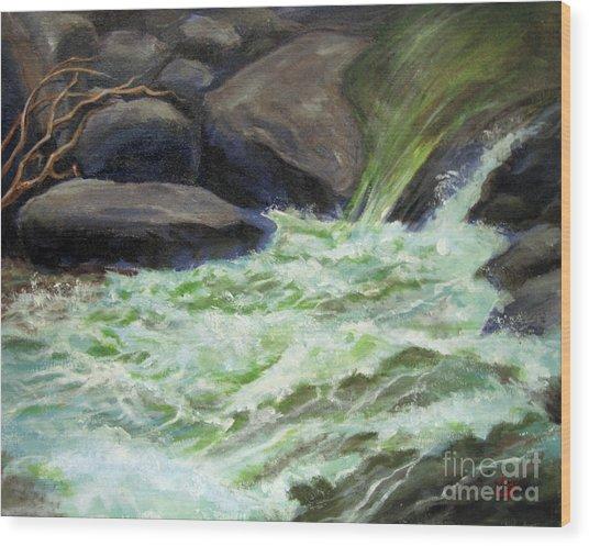 Rock Splash Wood Print
