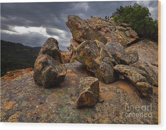 Rock/storm Wood Print