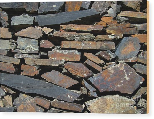 Rock Wall Of Slate Wood Print