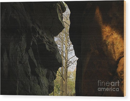 Rock Window Wood Print