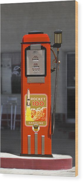 Rocket 100 Gasoline - Tokheim Gas Pump Wood Print