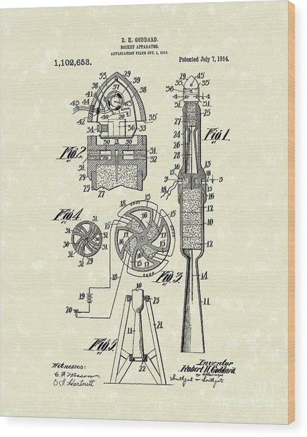 Rocket 1914 Patent Art Wood Print