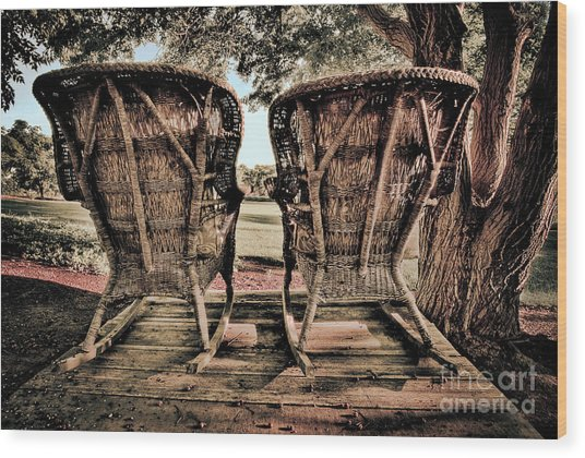 Rocking Chairs Wood Print