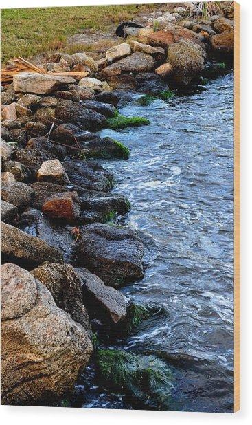 Rocks Along River Wood Print by Victoria Clark