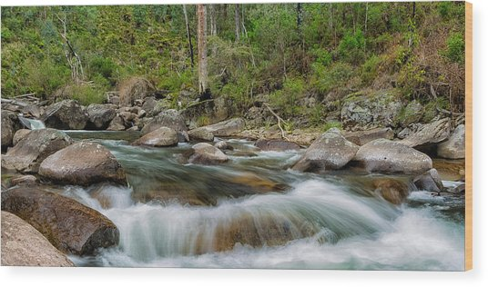 Rocks And Rapids Wood Print by Mark Lucey