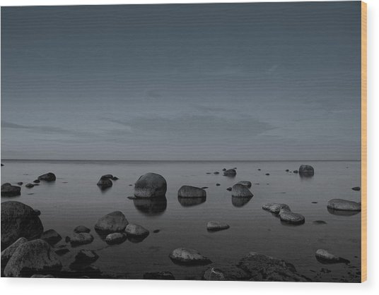 Rocks At Midnight Wood Print