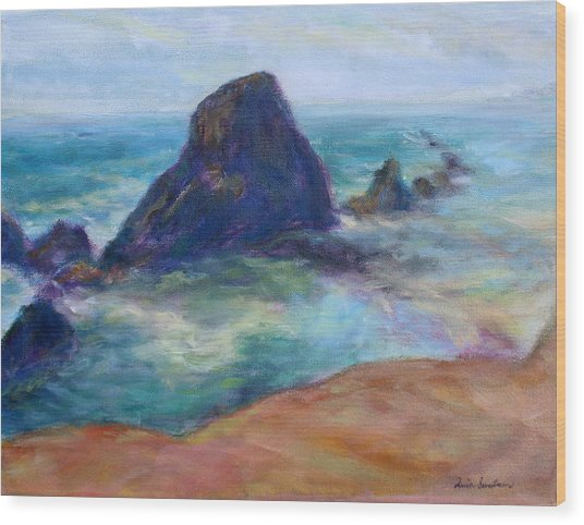 Rocks Heading North - Scenic Landscape Seascape Painting Wood Print