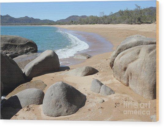 Rocks On The Beach Wood Print