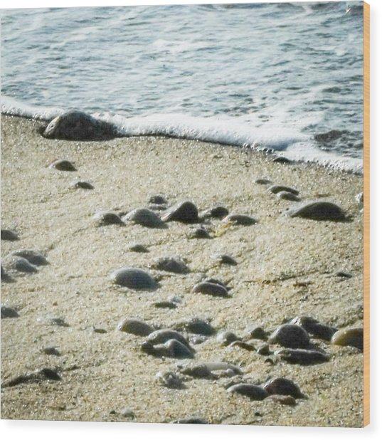 Rocks Sand And Sea Wood Print