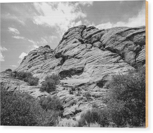 Rockscape In Greys Wood Print