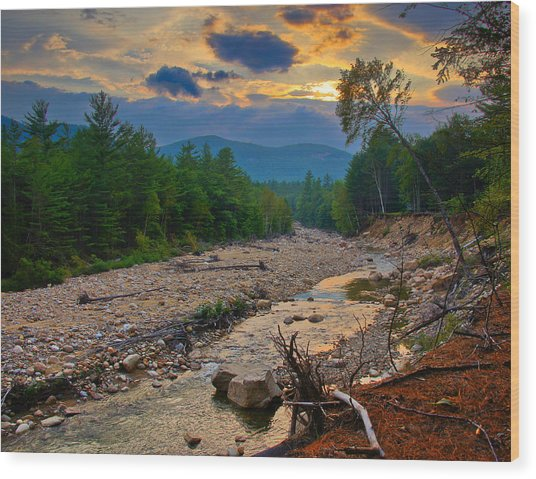 Rocky Branch Sunset Wood Print