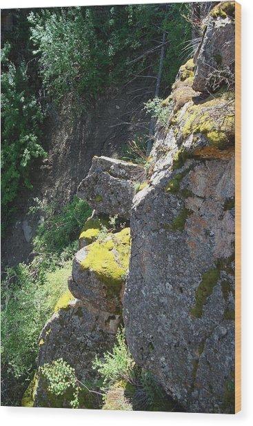 Rocky Cliff Wood Print