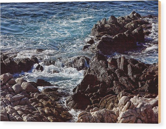 Rocky Coast Wood Print by Linda Phelps