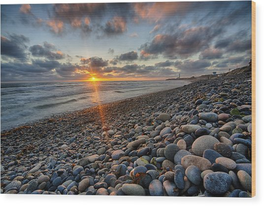 Rocky Coast Sunset Wood Print