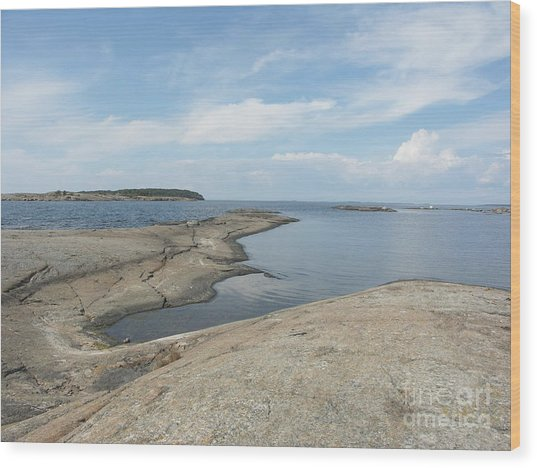Rocky Coastline In Hamina Wood Print