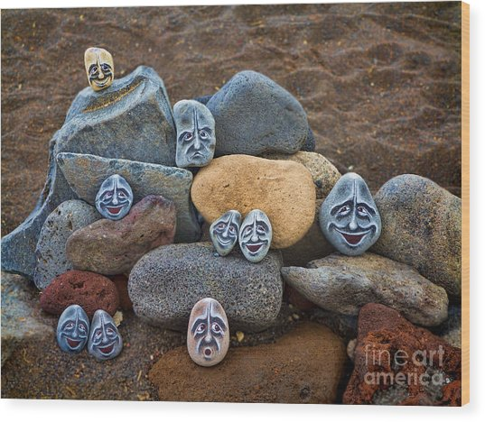 Rocky Faces In The Sand Wood Print