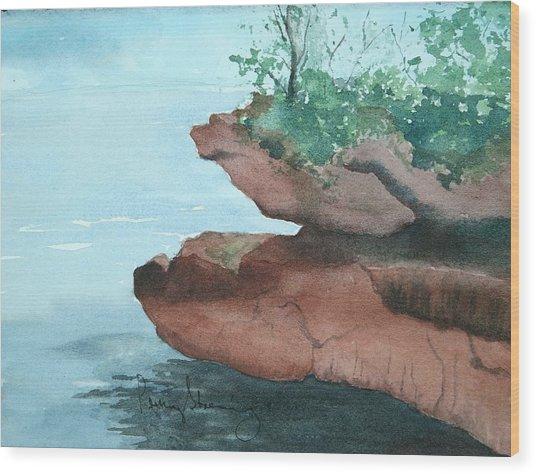 Rocky Ledge Wood Print
