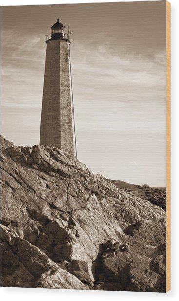 Rocky Lighthouse Wood Print