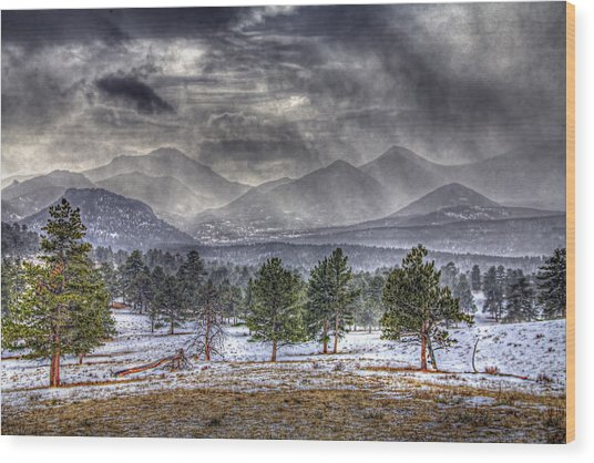 Rocky Mountain Snow Storm Estes Park Colorado Wood Print