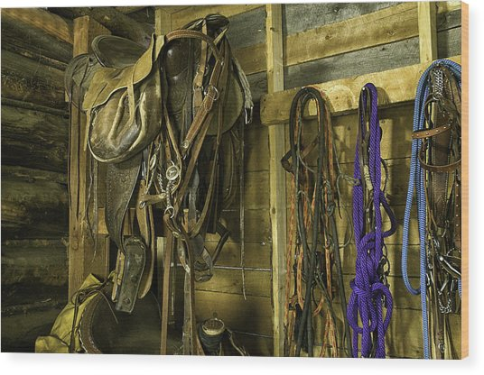 Rocky Mt Tack Room Wood Print