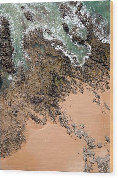 Rocky Shoreline Abstract Cape Woolamai Wood Print