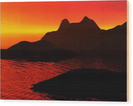Rocky Sunset Wood Print