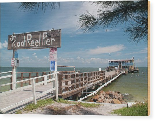 Rod And Reel Pier Wood Print
