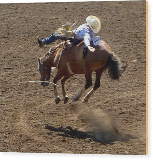 Rodeo Time Bucking Bronco 2 Wood Print
