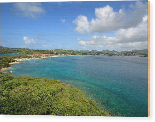 Rodney Bay Viewed From Fort Rodney - St. Lucia Wood Print by Brendan Reals