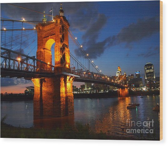 Roebling Suspension Bridge At Sunset Wood Print