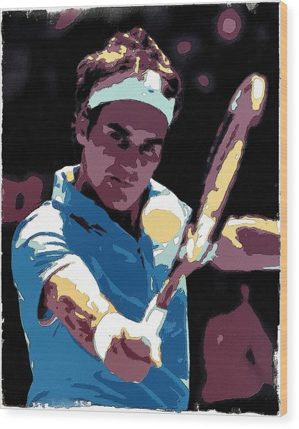 Roger Federer Portrait Art Wood Print