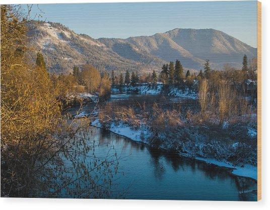 Rogue River Winter Wood Print