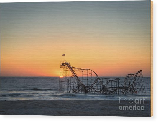 Roller Coaster Sunrise Wood Print