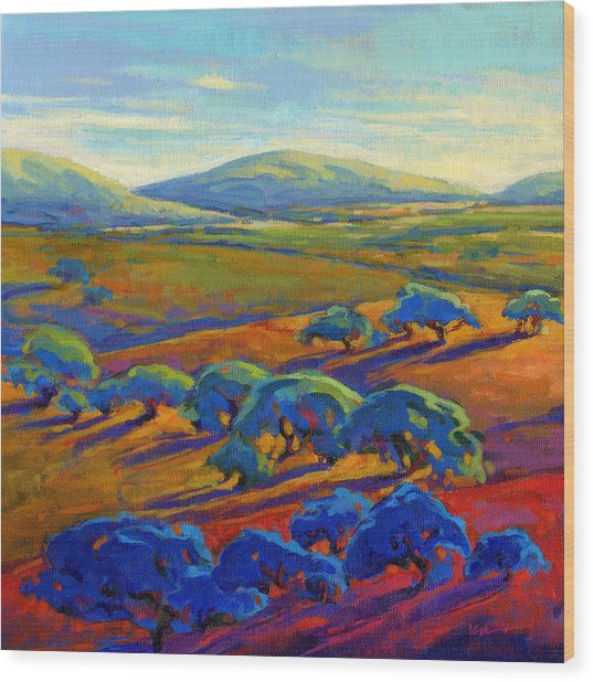 Wood Print featuring the painting Rolling Hills 2 by Konnie Kim