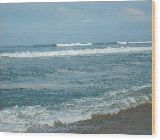 Rolling Waves Wood Print by Deborah May