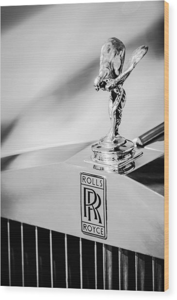 Rolls-royce Hood Ornament -782bw Wood Print