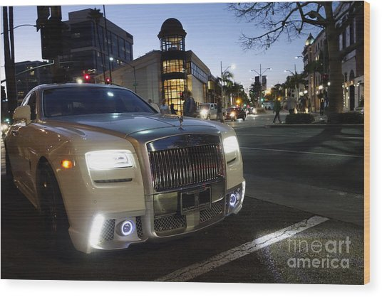 Rolls Royce Parked At The Bottom Of Rodeo Drive Wood Print