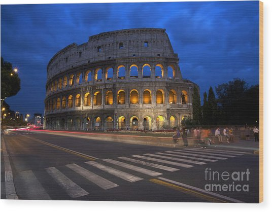 Roma Di Notte - Rome By Night Wood Print