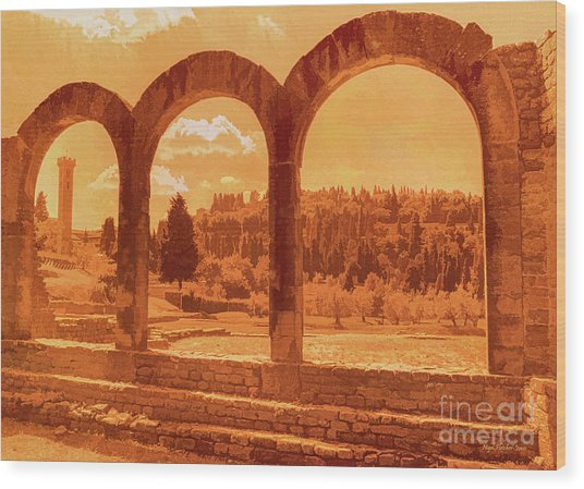 Roman Arches At Fiesole Wood Print