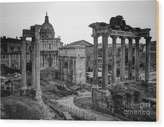 Roman Forum At Sunrise Wood Print by Anthony Festa